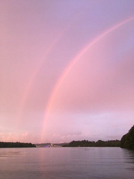 Rainbows at sunset over Bandar Seri Begawan