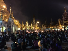 Try to sit at Shwedagon pagoda