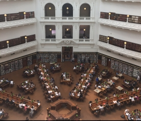 Crowded Melbourne library