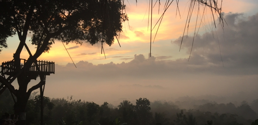 Sunrise over Borodubur, Indonesia