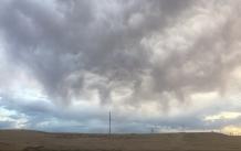 Storm clouds in the Gobi horizon, Mongolia.