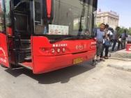 Long distance bus China-Mongolia border crossing.